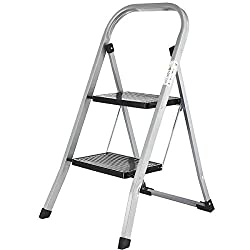 ✅ PRACTICAL & SAFE: Practical two-step ladder stool that is foldable, ideal for jobs around and in your house. The surface of the step ladder treads are ribbed to make them slip resistant ✅ STURDY & STABLE: Very sturdy and stable small ladder – max l...