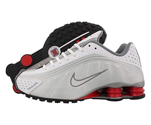Nike Shox R4 - Zapatillas deportivas para hombre, (Blanco / Plateado metálico), 41.5 EU
