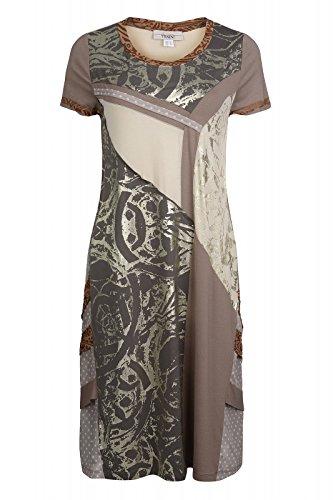 linea TESINI by heine Kleid Sommerkleid Jerseykleid Druckkleid Braun, Größenauswahl:36