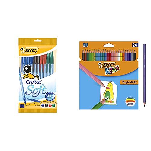BIC Cristal Soft bolígrafos punta media con escritura suave Colores surtidos, Blíster de 10 unidades + Kids Lápices de Colores para Niños, Óptimo para material escolar,Tropicolors