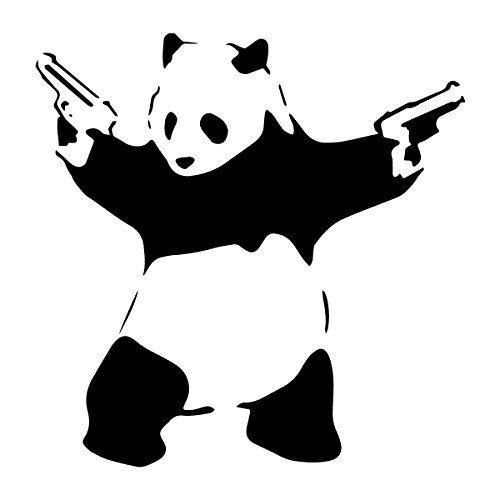 decorsfuk.co Banksy Panda mit Guns | Art Wand Graffiti Vinyl Aufkleber | Urban Art Fenster, Auto, Laptop Aufkleber - Small - 13x13cm