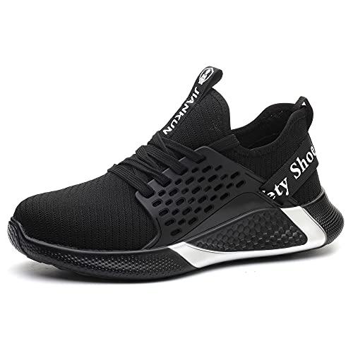 Hombres Zapatos de Seguridad Ligero Acero Toe Trabajador Entrenadores Protectora Industrial Zapatos Mujeres, color Negro, talla 48 EU