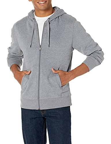 Amazon Essentials Full-Zip Hooded Fleece Sweatshirt Sudadera, Gris (Light Grey Heather), X-Large