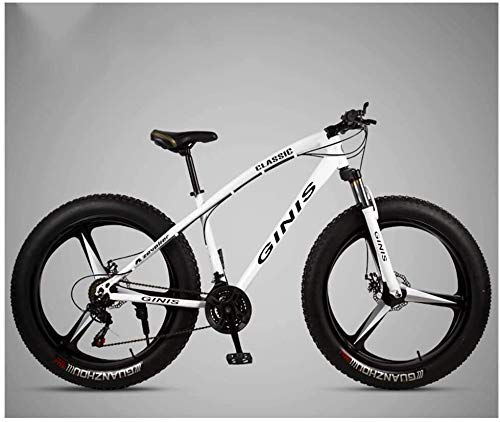 Best Prices! JSZMD 26 Inch Mountain Bicycle, High-Carbon Steel Frame Fat Tire Mountain Trail Bike, Men's Womens Hardtail Mountain Bike with Dual Disc Brake (Color : White, Size : 24 Speed 3 Spoke)