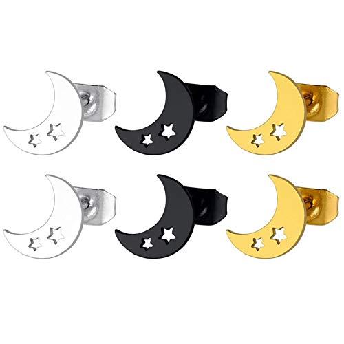 ANAZOZ Pendientes Acero Inoxidable Mujer Hombre Plata Negro Oro 3Pares Luna con Estrellas