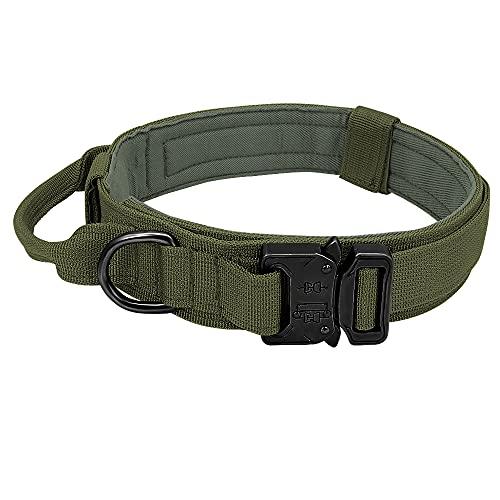 Collar Táctico Militar, para Entrenamiento para Caminar Duarable Perro Collar De Collar Control Mango Alemán Shepard Medio Medio Grande Collars,Verde,36~48