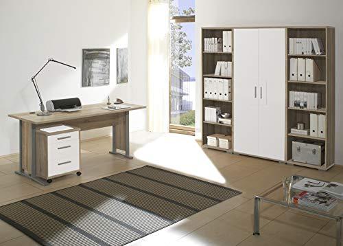 moebel-dich-auf Arbeitszimmer komplett Set Büro Büromöbel Office Line mit geradem Schreibtisch in Eiche Sonoma/Weiss Glanz
