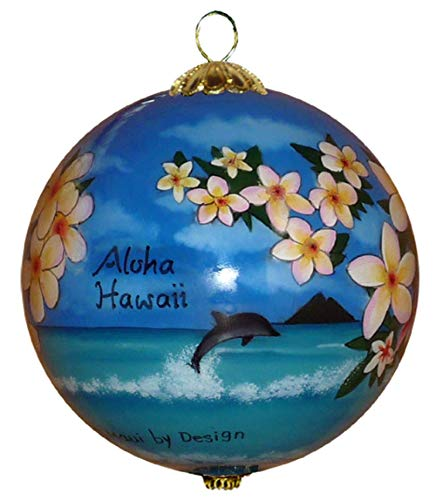 Maui by Design Collectible Hawaiian Christmas Ornament - Morning Glory White Plumeria MP/H