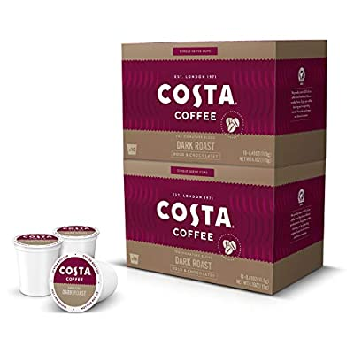 Costa Coffee Single Serve Pods Compatible with Keurig K-Cup Brewers Dark Roast, 20 count