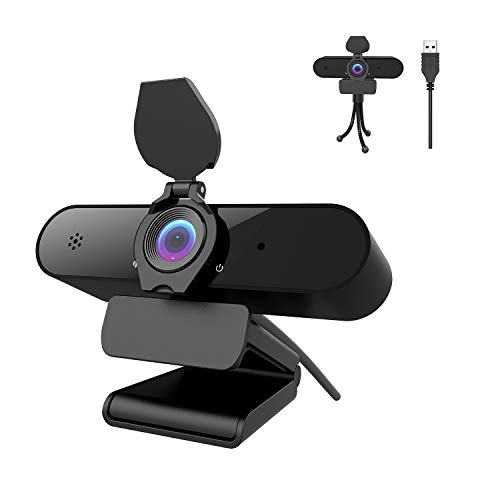 Webcam PC 2K/4MP/1440P con micrófono, Cámara Web Full HD con Webcam Cover Y trípode, Vista Gran Angular de 115 °, USB Plug and Play para Videollamadas, Conferencias, Juegos con Clip Giratorio
