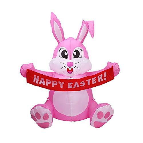 Vurucaa Disfraz de conejo de Pascua inflable luminoso LED de 1,5 m para decoración de patio, poliéster, plástico, decoración de color rosa
