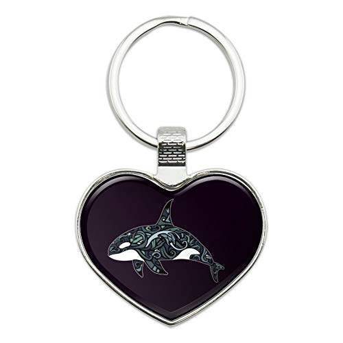 Killer Whale Orca with Waves Keychain Heart Love Metal Key Chain Ring