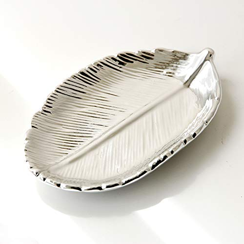 Gloden - Plato de cerámica con hojas de árbol, diseño de hojas de árbol, bandeja de almacenamiento de plata y bandeja de almacenamiento de cerámica de oro rosa (color: plata)