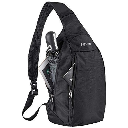 FREETOO Sling Bag Crossbody Backpack Travel Slim Shoulder Sling Backpack Chest Bag 500D Nylon for Men Women Lightweight Waterproof (Black)