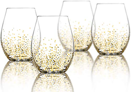 Wine Glass - Stemless Wine Glass Set of 4 - Wine Glass Tumbler - 10oz Red Wine Glass - Stemless Wine Glass With Gold Dot Design Goldosa Collection by Trinkware