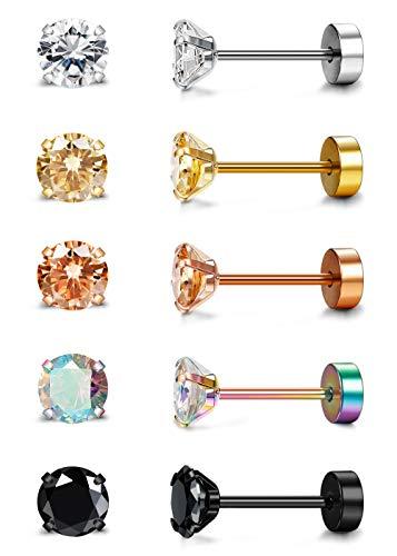 Besteel 5 Pairs 20G Stainless Steel Tragus Stud Earrings for Women Men Round Cubic Zirconia Flatback Screw Back Ear Piercing Set 5MM