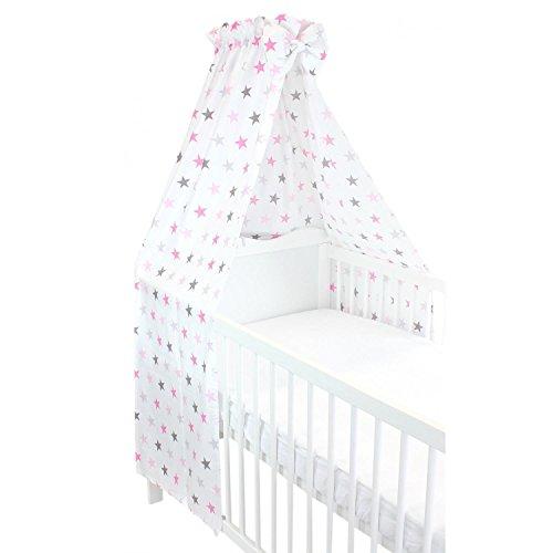TupTam Babybett Himmel mit Schleifchen, Farbe: Sterne Rosa 2, Größe: ca. 160x240 cm