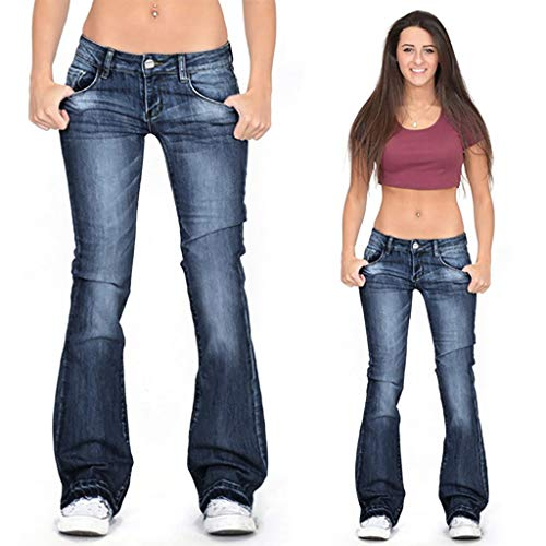 Riou Damen Bootcut Jeans Stretch Slim fit Boyfriend Straight Gerades Bein Lang Jeanshose Freizeithose Schlagjeans