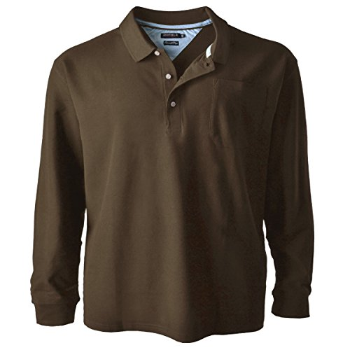 Redfield Piqué Langarm Poloshirt braun Übergröße, XL Größe:8XL