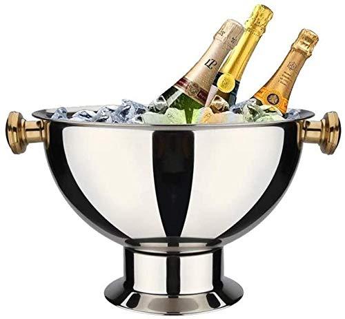 Secchiello per ghiaccio Refrigeratore in acciaio inossidabile Bacino per champagne Secchiello per cubetti di ghiaccio Cubetti di ghiaccio Birra Bevanda ghiacciata per uso domestico Bar per feste-C