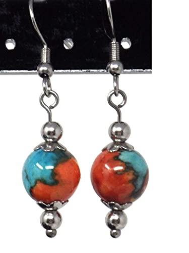 Pendientes de mujer en acero inoxidable y perlas de Jade tintadas en marrón, naranja y azul.