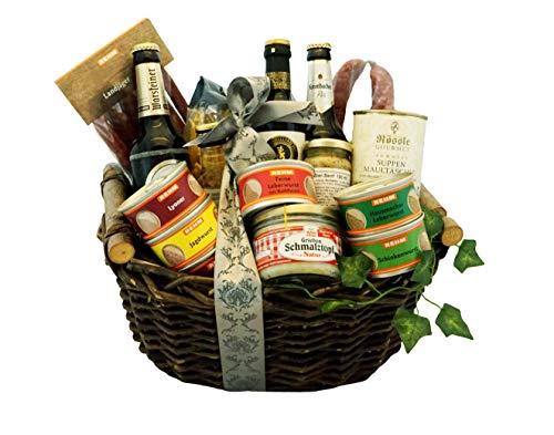 Großer Schwäbischer Geschenkkorb gefüllt mit deftigen schwäbischen Spezialitäten - Fresskorb mit Wein, Dosenwurst, Bier, Maultaschen und weiteren ausgewählten Produkten +++ Gratis Grußkarte