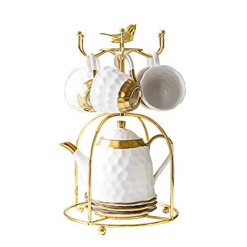 SLHEQING Tassenhalter Vintage Kaffeetasse Regal Metall Ständer für 6 Tassen Untertasse Löffel Sets Tee-Set Display Stand