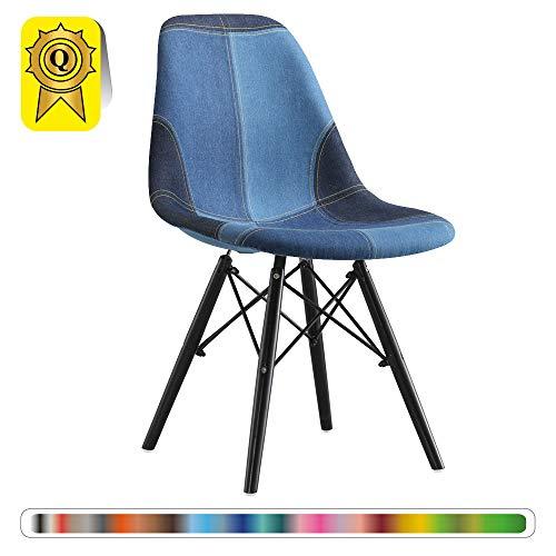 Decopresto 1 x Chaise Design Scandinave Patchwork Jeans Pieds Bois Noir DP-DSWB-PJ-1