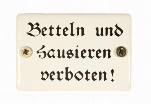BBV Emaille Schild Betteln und Hausieren verboten! 6x4 cm Emailleschild wetterfest und lichtecht