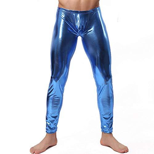 Lederunterwäsche für DamenSexy Männer Skinny Faux PU Lederhose Hose Stage Performance Lederhose Low Waist Men Legging Sexy Vinyl Leggings-Blau_L.