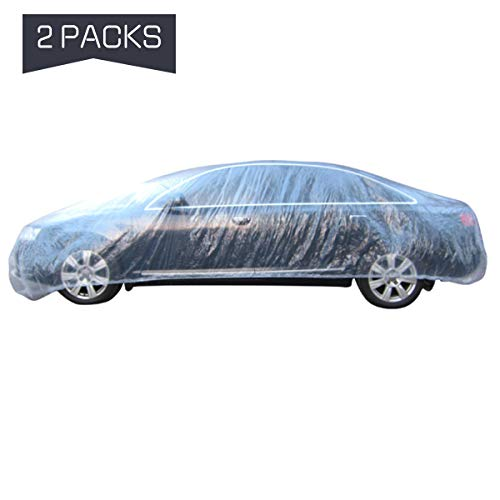 PAMASE 2 Set of Thicken PE Plastic Car Cover- 12.5' x 21.6' Disposable Car Cover with Elastic Band Clear Waterproof Dustproof Car Protective Cover for All Brands of Sedan Cars