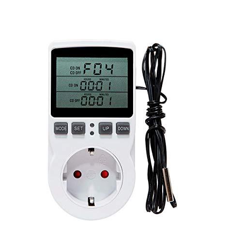 Conpush Temperaturregler Steckdose,Heizung Kühlen Digital Thermostat Steckdose mit Timer und Fühler für Terrarium Aquarium Reptilien Inkubator-Kühlschrank Treibhaussaatkeimung