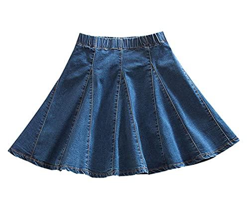 Yimoon Women's Casual Elastic Waist A-Line Skater Denim Jean Mini Skirt (Blue-S)