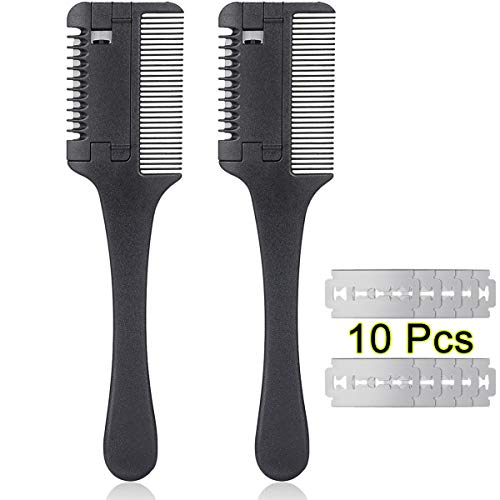 2 Pieces Razor Comb with 10 Pieces Razors, Profession Hair Cutter Comb Cutting Scissors, Double Edge Razor, Hair Thinning Comb Slim Haircuts Cutting Tool
