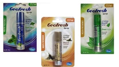 Geofresh Ayurvedic Instant Mouth Freshener Spray TRIPLE COMBO(Cool Mint + Elaichi + Paan) 15G