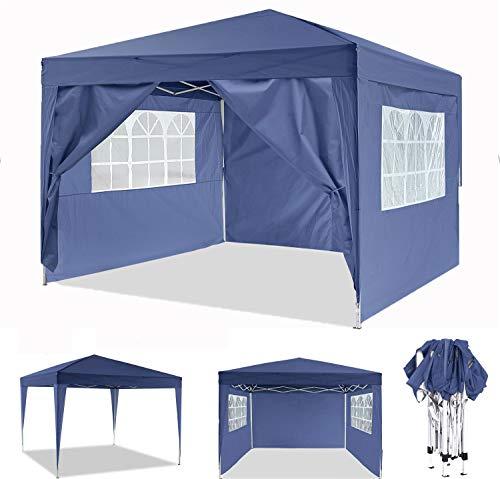 ROOJER Pavillon 3x3m Faltbar Partyzelt Faltpavillon Wasserdicht Gartenpavillon Pavillon mit 4 Seitenteilen für Garten, Terrasse, Party, Markt (Blau)