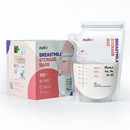 Nuliie 120 Uds 8 Onzas Bolsas Almacenamiento de Leche Pre-esterilizadas, Bolsa Para Leche Materna con Boquilla Dispensadora, Libre de BPA, Bolsa Auto-Portante, Ahorro de Espacio