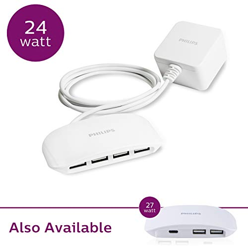 PHILIPS 24W 4-Port USB Charging Station, for iPhone 11/Pro/Max/XS/XR/X/8, Ipad Pro, Samsung Galaxy S10/S9/Plus, Google Pixel, USB-A, Use on Bedside or Tabletop, 5 Ft. Cord, DLK51340M/37