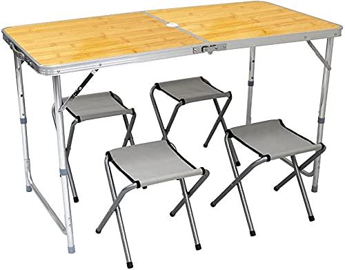 MERMONT アウトドアテーブル チェア4脚セット 幅120cm アルミ 折りたたみ 高さ調整可能 パラソル用ホール付...