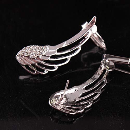 Boenxuan Elegant Engelsflügel Damen Ohrklemme 925 Sterling Silber,Zirkonia Ohrringe Ohrstecker Ear Cuff Ohrschmuck Silber,Silber