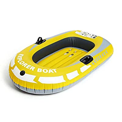 Inflatable Boat, Thickened 1/2 Person Inflatable Boat Fishing Boat Rubber Boat PVC Kayak (Yellow 1-Person Boat)