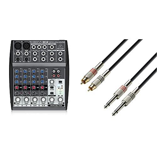 Behringer Xenyx 802 Color Negro, Mezclador Para Dj, 8 Puertos + Ah Cables K3Tpc0100 Cable Rca A Jack (6.3 Mm, Mono, Macho, 1 M)
