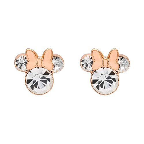 Disney Minnie Mouse Pink Silver Plated Crystal Stud...