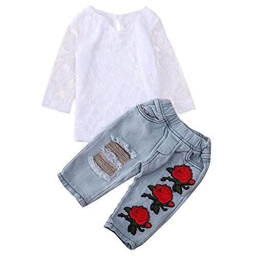 2pcs Neonata Completini Solido Pizzo Cava T-Shirt Camicia Cime + Floreale Ricamo Buco Denim Pantaloni Bambina Vestiti (Bianco, 12 Mesi)