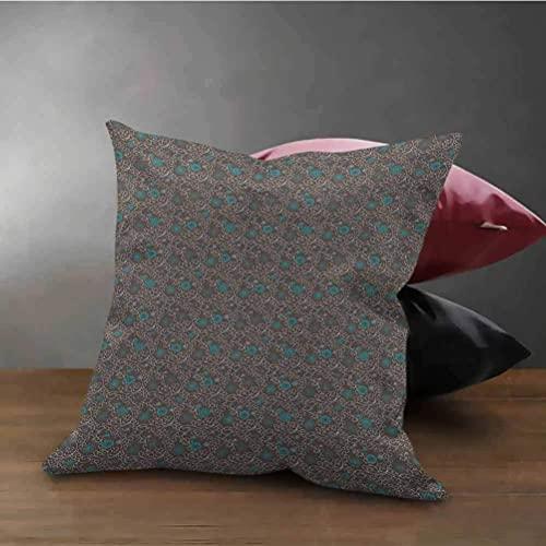 Housse de taie d'oreiller oriental couvre-oreillers inspirations de la culture abstraite lignes courbes et tourbillonnantes inspirations oreiller personnalisé taie d'oreiller carrée à glissière marron