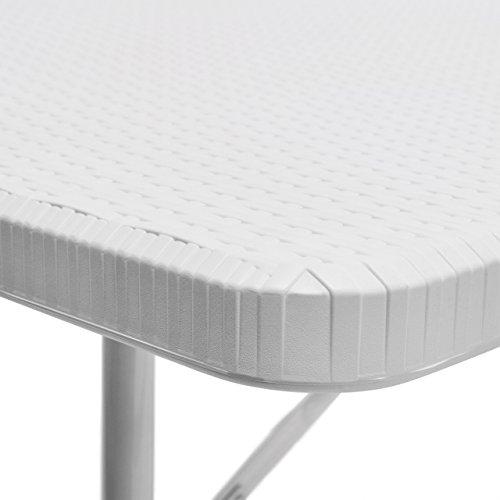 Relaxdays Bierzeltgarnitur klappbar Bastian, 3-teiliges Gartenmöbel Set, einfarbig, H x B x T: 73 x 180 x 75 cm, weiß - 7