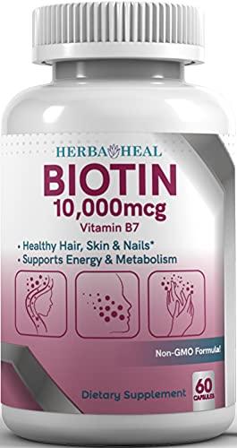 Biotin 10,000MCG Capsules Hair Growth Vitamin B7 Pills - High Potency Supplement for Healthy Skin Nails and Hair - Vegan Biotin for Women   Hair Growth for Men