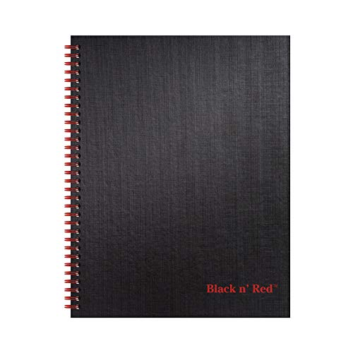 Black n' Red Caderno de capa dura, espiral dupla, grande, preto/vermelho, 70 folhas pautadas, pacote com 1 (K67030)