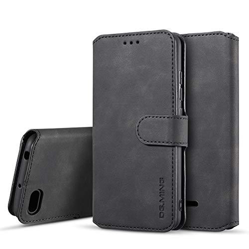 xinyunew Hülle Kompatibel mit Xiaomi Redmi 6A Hülle, 360 Grad Handyhülle + Panzerglas Premium Handy Schutzhülle Leder Wallet Tasche Flip Brieftasche Etui Schale (Schwarz)