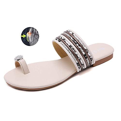 WYZXR Versión Mejorada Sandalias correctivas para juanetes Verano Mujer Sandalias Planas con Diamantes de imitación Zapatilla de Playa Informal con Soporte de Arco para corrección del pie del Dedo g